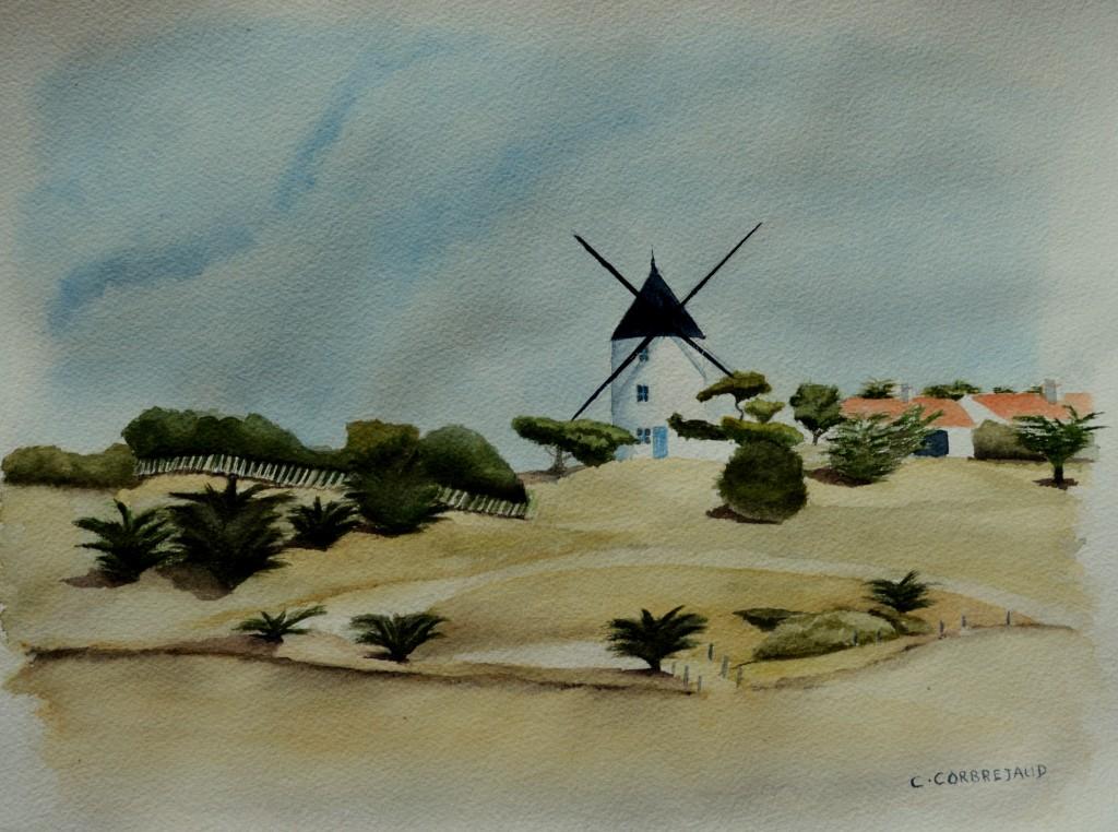 """Aquarelle sur papier """"Arches"""" représentant le moulin de la Bosse et les dunes environnantes situé sur la commune de l'Epine dans l'ile de Noirmoutier"""