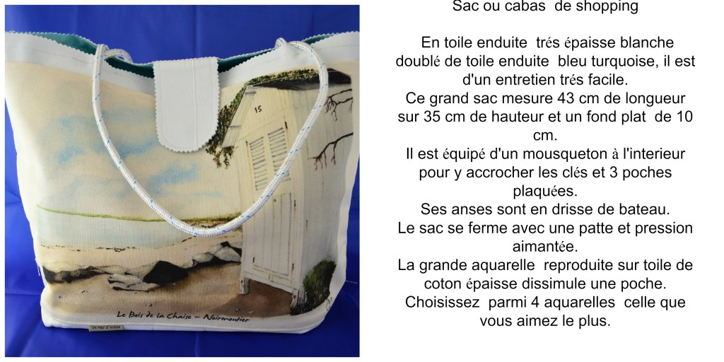 cabas toile enduite blanche collage