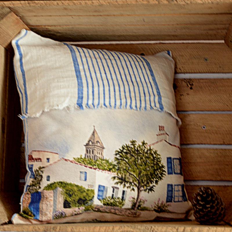 Coussin lin blanc et bleu maison de vacances en banzeau - Maison de vacances coussins ...