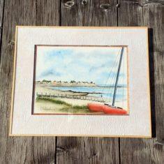 """Aquarelle """"catamaran sur la plage du Vieil"""""""